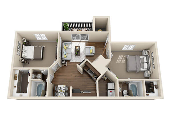 Emerald Place Two Bed Two Bath Floor Plan